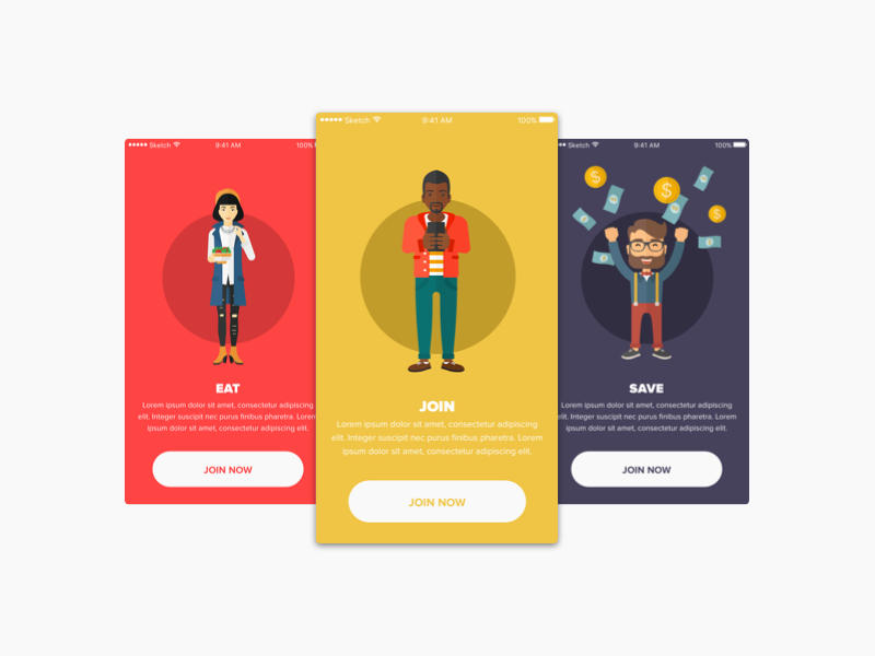 Onboarding Screens ios introduction food onboarding illustrations