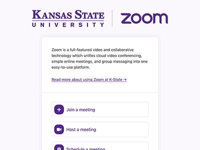K-State Zoom landing page design landing page
