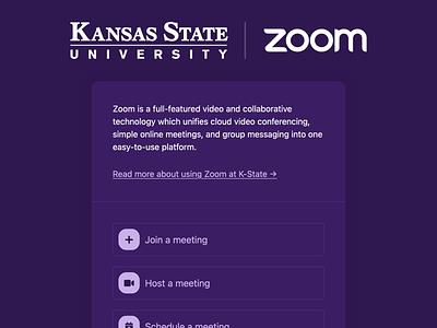 K-State Zoom landing page (dark mode) landing page