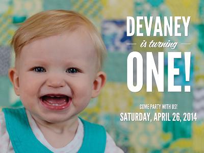 Devaney's First Birthday Invitation (front) photography baby invitation birthday