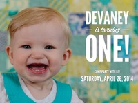 Devaney's First Birthday Invitation (front)