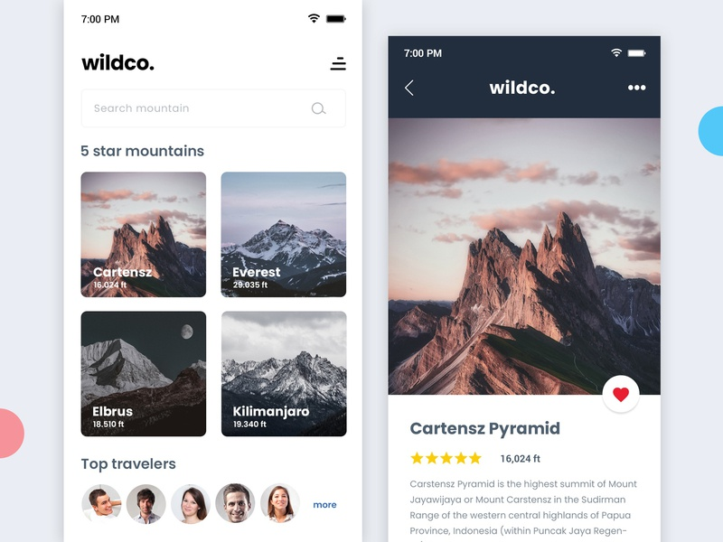 Wildco App mountain graphic  design travel userinterface design app design app uiux uxdesign uidesign