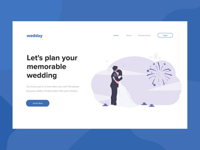 Wedday flat design minimalism wedding landing page landing illustrator ui design ui