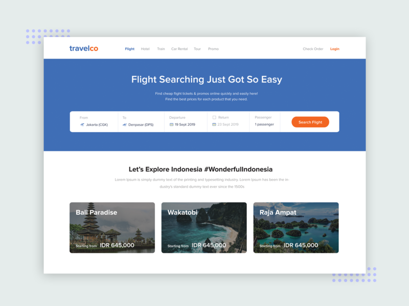 Travelco Web flat design clean ui clean design holiday tourism tour ticket booking ticket app ticket travel app uiux ui travel