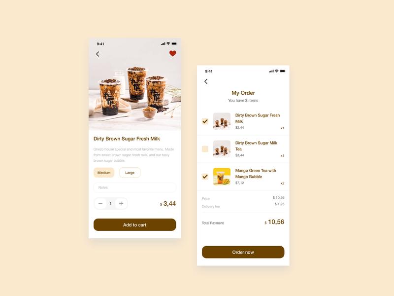 Onezo App bubble tea boba cart onezo app design mobile app mobile app ux flat ui  ux ui design ui design