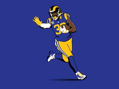 Todd Gurley II sports icon american football la rams madden illustration illu team sports graphic design rb runningback fantasy football football nfl rams la