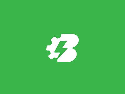 Bionic gear green b logo icon mark brand bolt vector identity logos b branding logo bionic