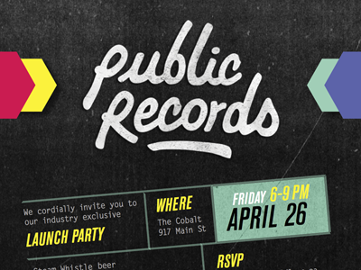 Public Records Invitation invitation grunge photocopy chevron event invite dark pink yellow teal periwinkle