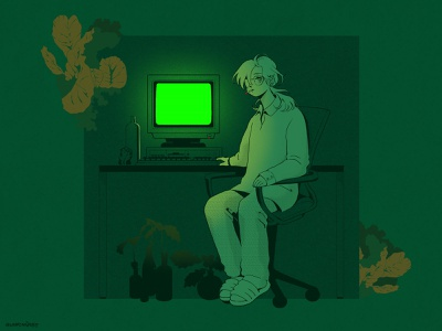 Plant anime comic internet cyber greenery green retro character characterdesign design cartoon lineart lineillustration artwork illustration art illustration drawing