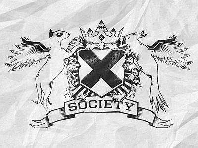 Society X logo illustration heraldics logo