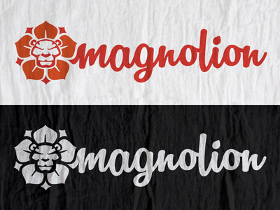 Magnolion logo concept illustration logo lion magnolia flower