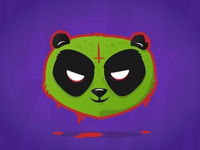 I wish a pandastic Halloween! evil zombie halloween panda illustration