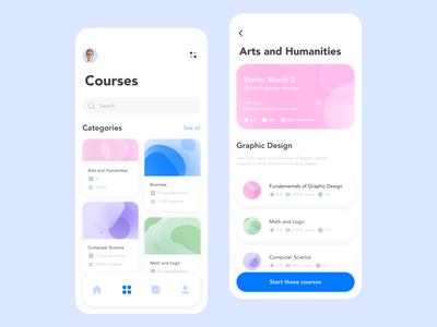 Online Courses App university search filters categories course soft software edtech education courses online startup mvp uiux ux ui interface design app design app