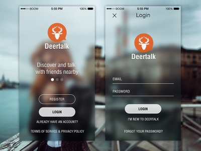 Mobile App Screenshot - Deertalk ios ui iphone android mobile app design logo chat message login register