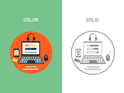 Snapshot - Web Infographics headphone mouse laptop color solid layout infographic dashboard icons web mobile ui