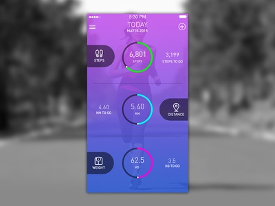 Fitness Mobile App - Workout steps distance weight screenshot health workout fitness ux android ios app mobile