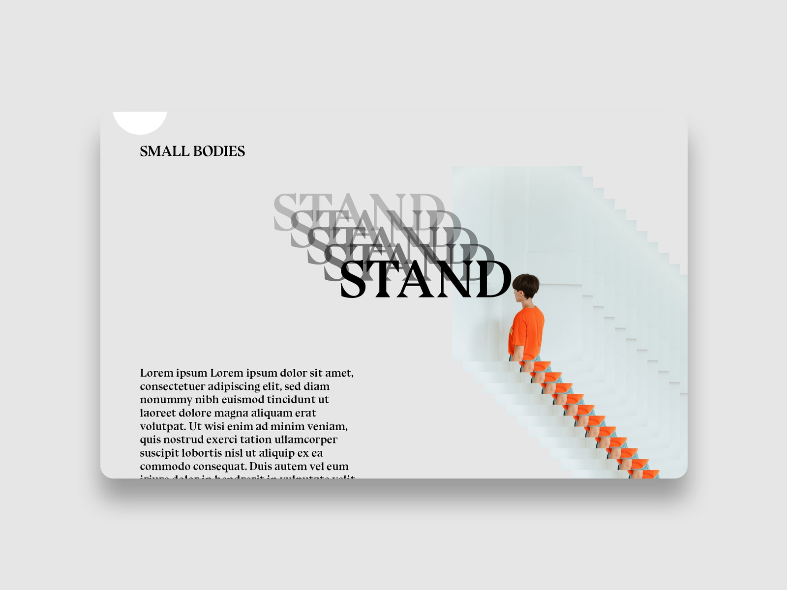 Small Bodies font website web design branding web ui