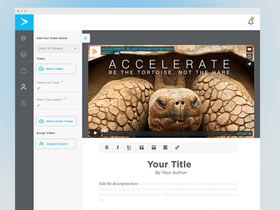 New CMS Layout - Video Upload cms continu video ui ux
