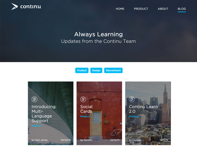 New Blog Layout ux ui continu website product blog