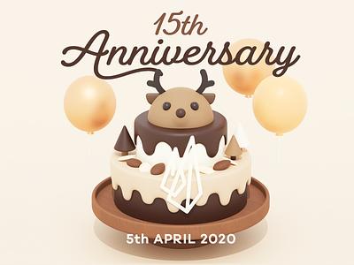Happy 15th anniversary anniversary deer chocolate cake b3d