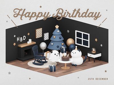 Birthday card birthday card birthday ghost 3d b3d