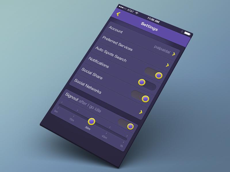 Settings ui gui app ios iphone user interface settings nob slider