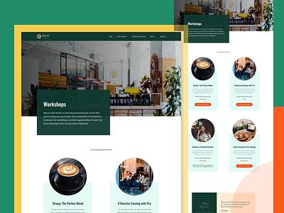 Barista Workshop simple design colorful landing workshop events simple modern clean coffee frontend wordpress ux ui website