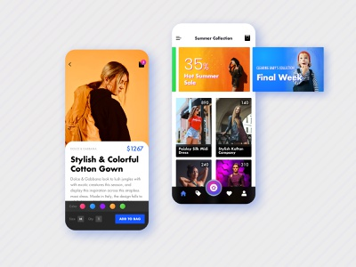 Shopping App ux design ui design colorful clean simple modern fashion dress style ecommerce app mobile andriod ios shop ux ui