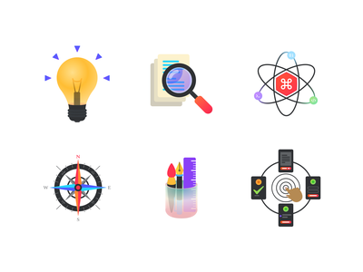 Product Design Strategy iconography icons studio colorful art design coding development website interaction interactive search research study idea strategy icon illustration