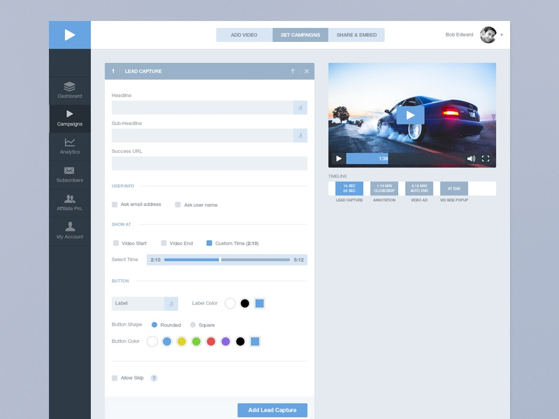 Add a Campaign video dashboard graph website web app cool forms customize