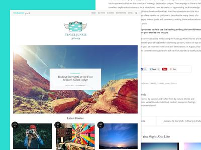 Travel Blog Redesign WIP wp css html social responsive modern. fashion diary ux ui travel wordpress blog