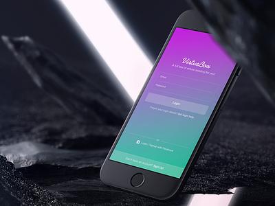 Login Screen clean ios9 iphone ux ui colorful login screen app