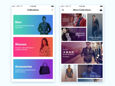 Shopping App listing luxury fashion latest modern website ux ui ios app ecommerce shopping
