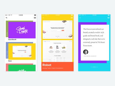 Portfolio App wordpress website case study designers modern colors iphone portfolio ios app