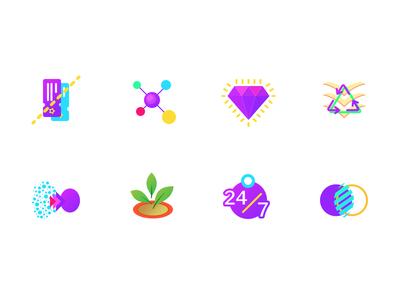 Sleek Icon Set journal blog ecommerce diamond wordpress website illustration colorful icons