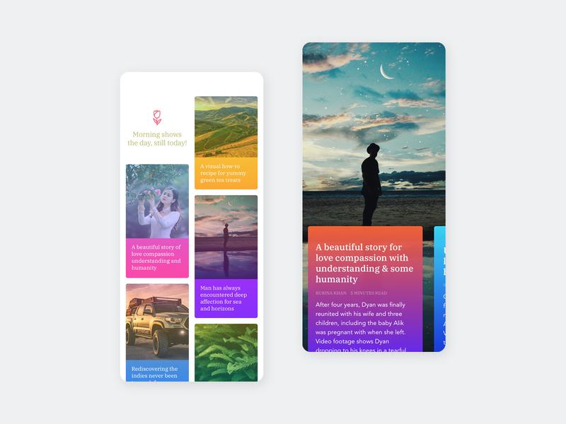 Story Cards wordpress modern colorful article blog widget iphone 10 iphone ios ui ux app