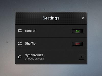Settings (Free PSD) widget settings repeat shuffle synchronize nob dark black board plastic interface ui random freebie gui