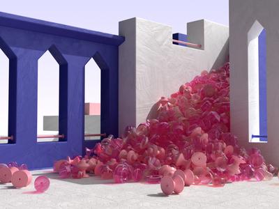 Falling Vases cg design architecture illustration 3d