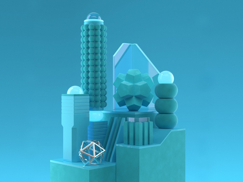 Substractions 'Cyan' geometric form shapes cyan abstract design illustration 3d