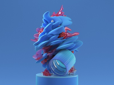 Substractions 'Blue' shapes organic form blue abstract cg design illustration 3d