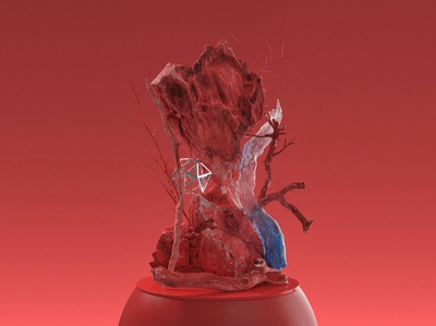 Substractions 'Red' red nature shapes form abstract cg design illustration 3d