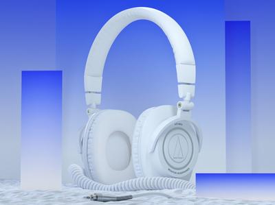 Audio Technica 'M50' Headphones headphones product shapes form abstract cg design illustration 3d