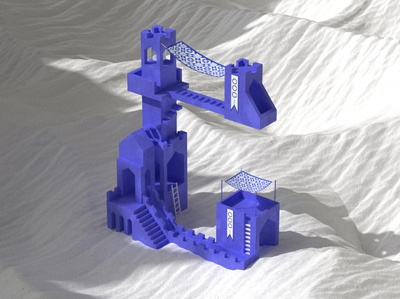 36 Days 'C' geometric architecture blue type form abstract cg design illustration 3d