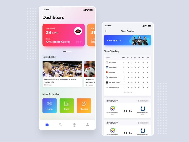 American Football App adobe xd uxdesign american football mobile design app ui design ux