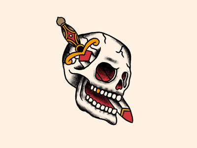 Skull DaggerTattoo procreate american traditional tattoo dagger illustration skull