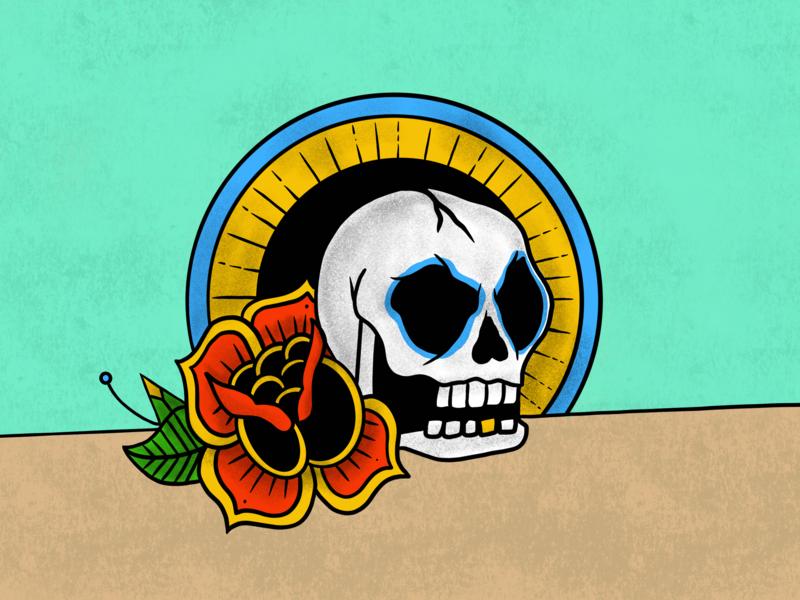 Skull & Rose Sketch design digital art illustration procreate american traditional rose skull