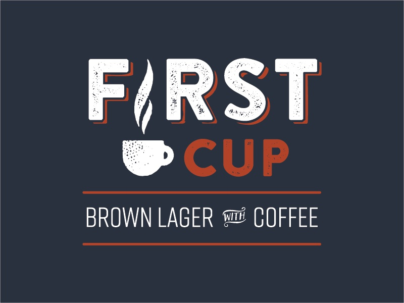 First Cup Concept beer label icon textured type design