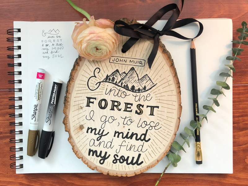 John Muir Quote mountain illustration line drawing lettered quotes lettering artist hand lettering