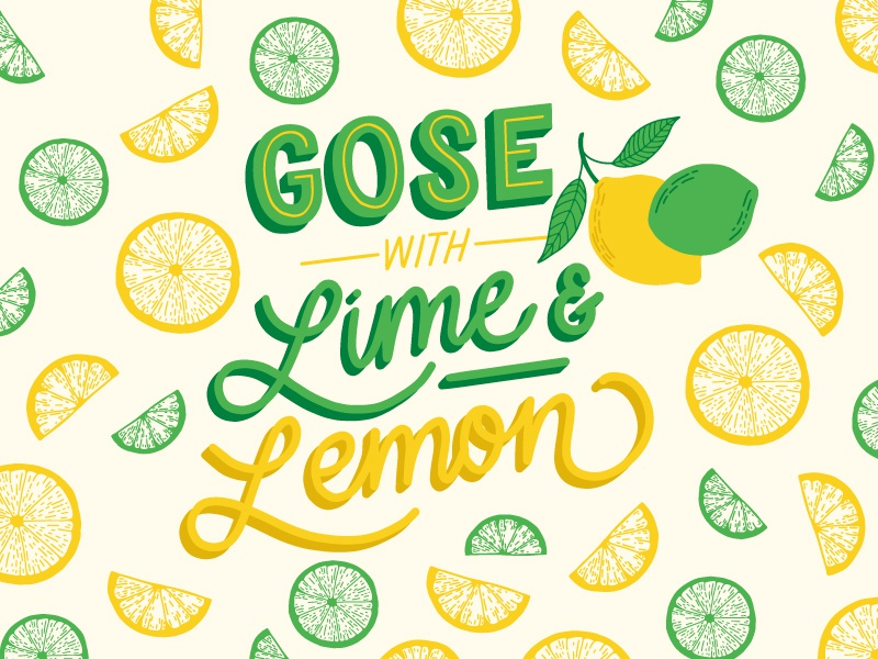 Gose with Lime & Lemon package design beer label illustration line drawing hand lettering