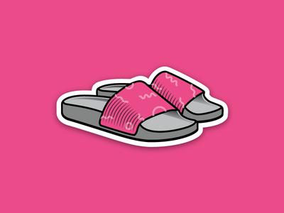 Slippy flat icon illustration beach vacation summer sticker slippers